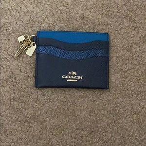 Coach charm blue card case